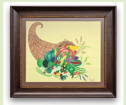 Horn of Plenty, a watercolour painting on the wall. By Paint Your Canvas India
