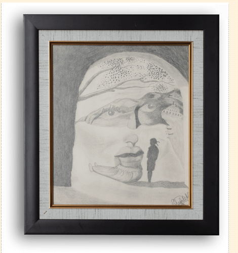 Illusion - Framed Painting. Graphite Pencil Sketch on paper by Paint Your Canvas India