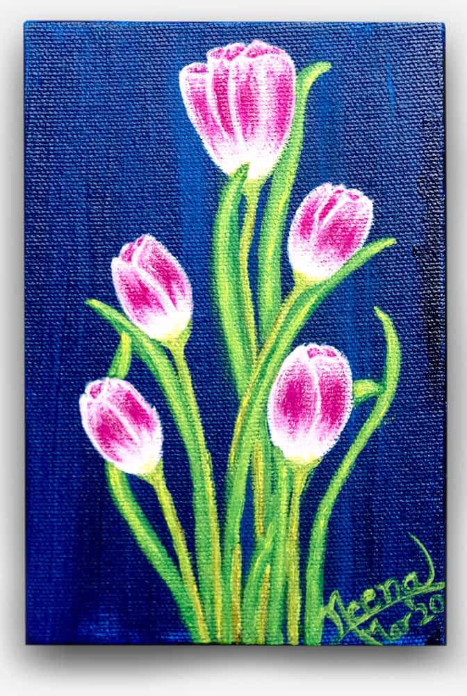 Fragrance Series - Bright Beautiful blue and pink and colorful flowers painted on canvas by Paint Your Canvas India