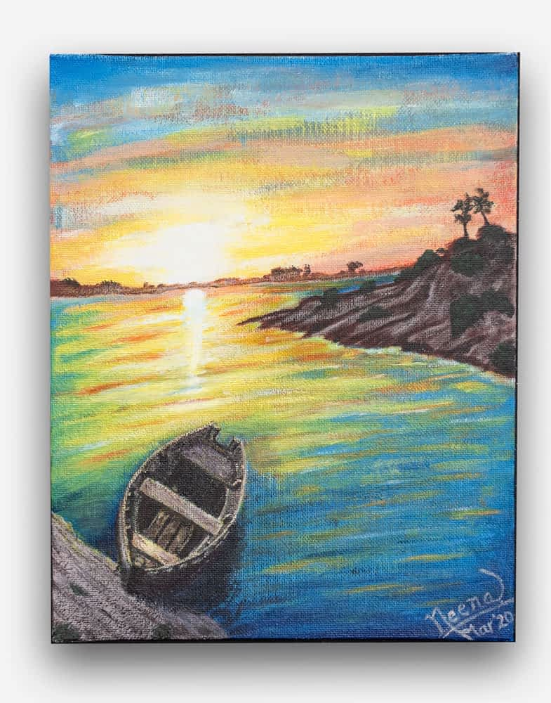 A beautiful painting of a sunset, by a river side. watercolor Painting on canvas by Paint Your Canvas India