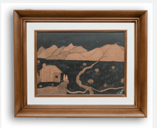 framed painting goa, with Layers of Plywood on black Buckram cloth