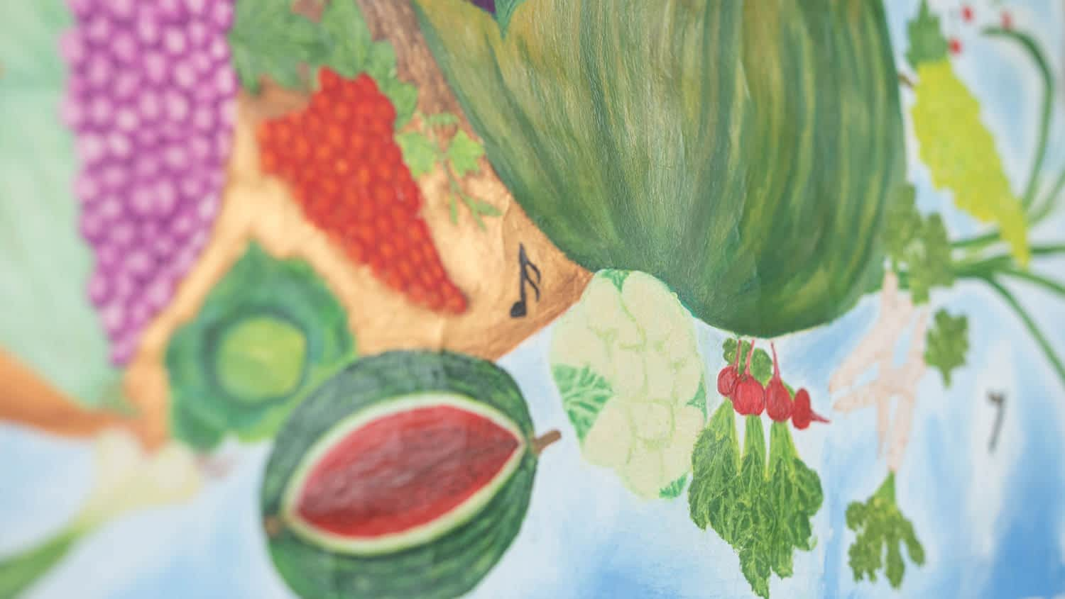 Horn of Plenty, a watercolour painting on the wall. Close up of fruits.By Paint Your Canvas India