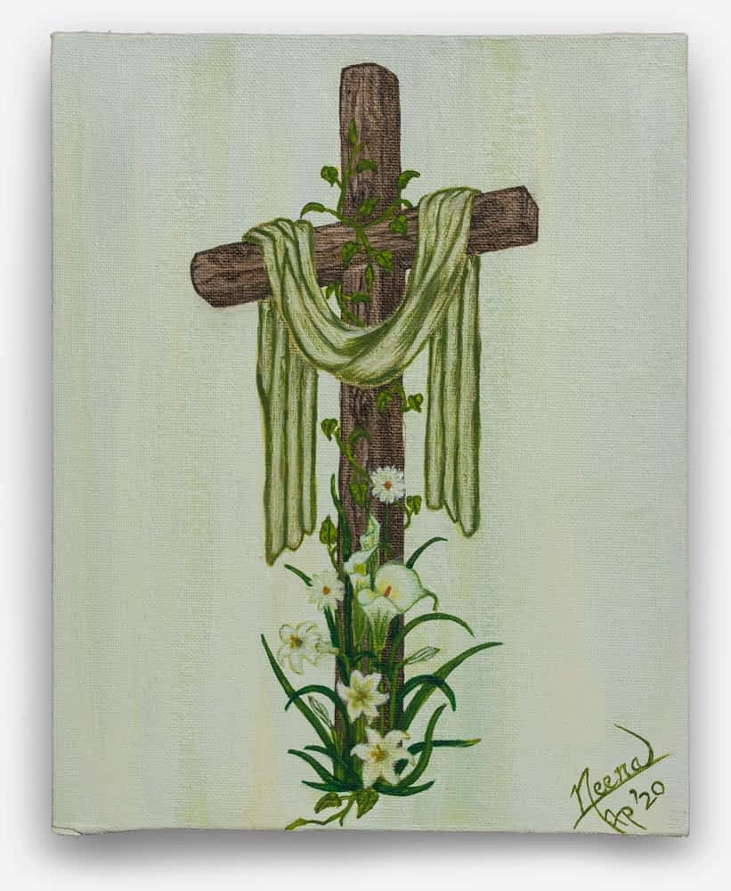 Life on the Cross - Water color painting of the cross with wines and flowers growing Framed Canvas Painting by Paint Your Canvas India