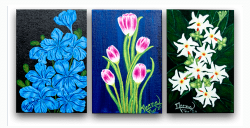 Fragrance Series - Bright Beautiful flowers painted on canvas by Paint Your Canvas India