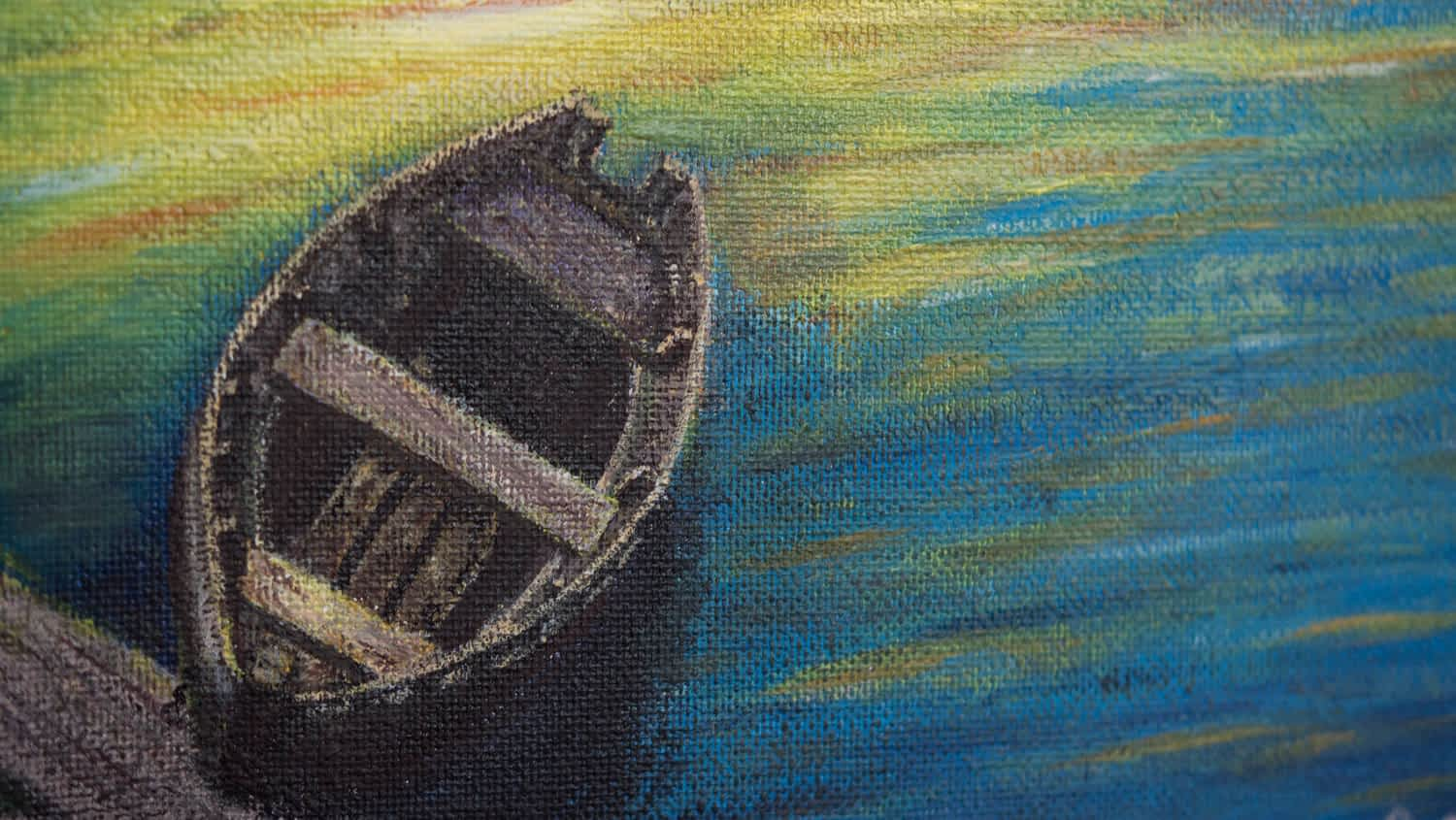 A detailed painting of a boat by a river side. during a sunset. Watercolor Painting on canvas by Paint Your Canvas India