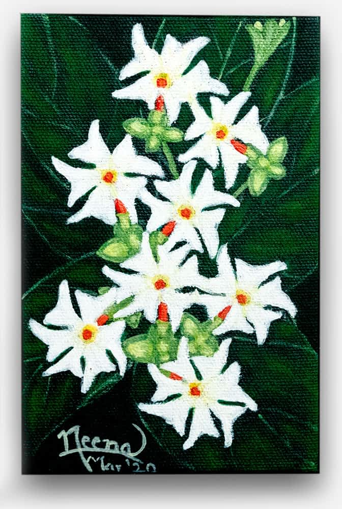 Fragrance Series - Bright green and white Beautiful and colorful flowers painted on canvas by Paint Your Canvas India