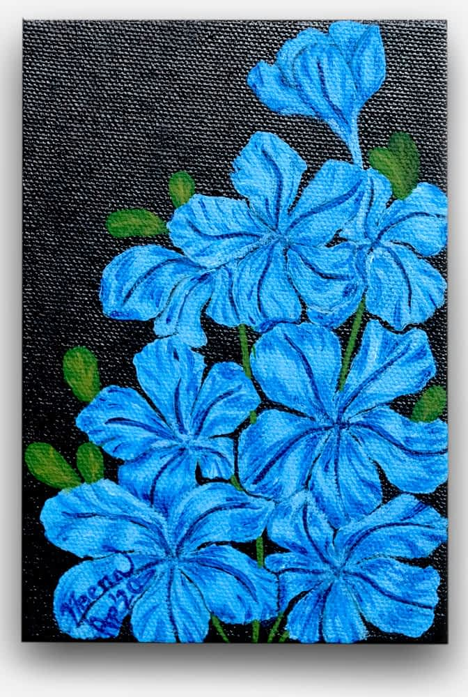 Fragrance Series - Bright Beautiful and colorful flowers of blue, green with rich deep, black background painted on canvas by Paint Your Canvas India