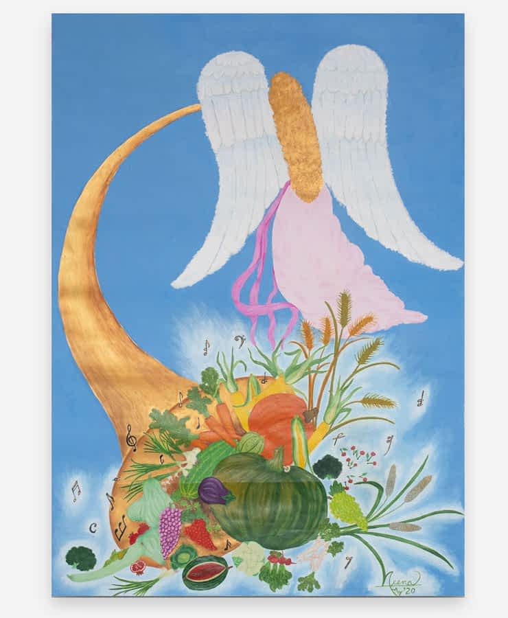 Horn of Plenty, a watercolour painting on the wall with musical notes, fruits, and angel floating away. By Paint Your Canvas India