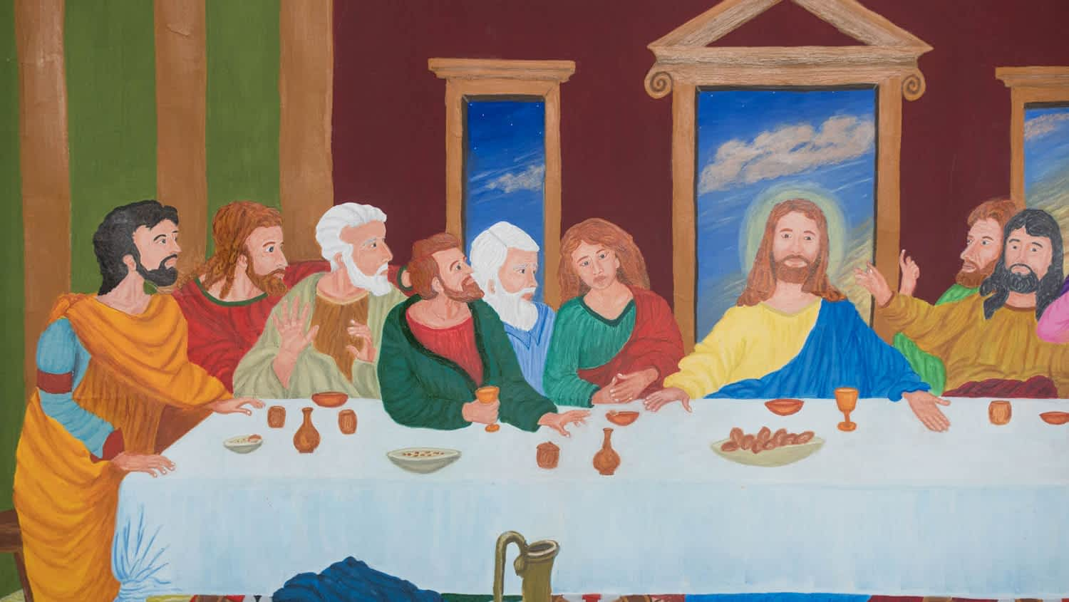 Last Supper Mural Painting on the wall. By Paint Your Canvas India